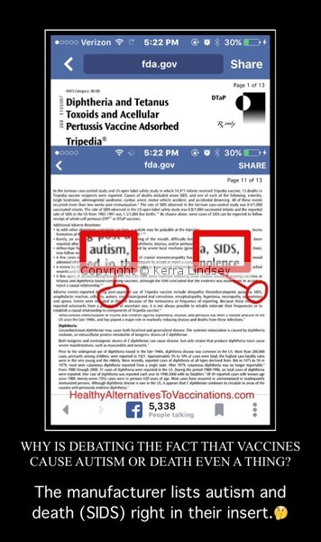 Vaccine Insert Proves Autism and SIDS link