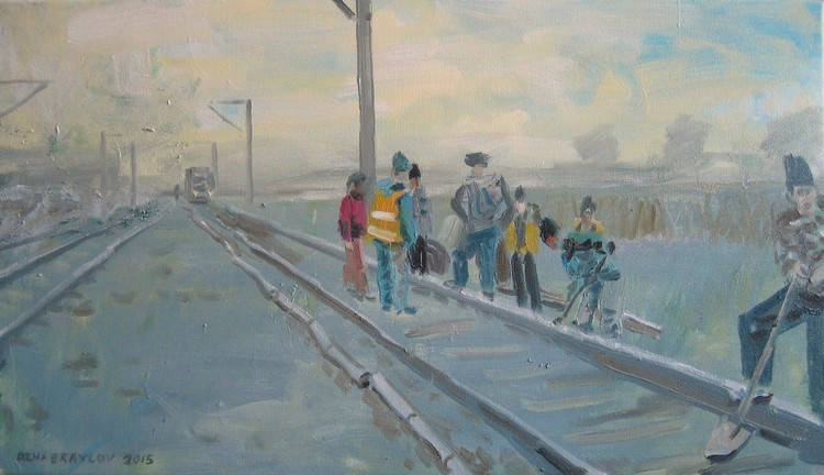 'RAILWAY WORKERS' 2015, oil on canvas 40x70cm.