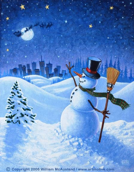 Snowman waving to Santa