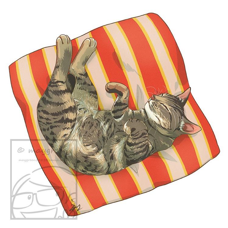 Sleeping Cat Brown Grey Tabby