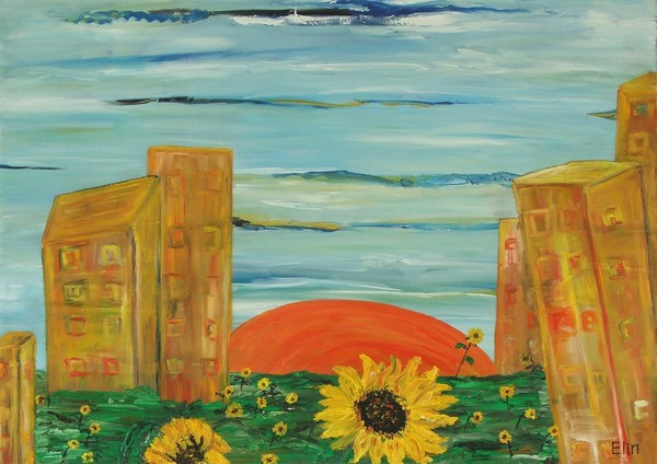 Urban landscape with sunflowers
