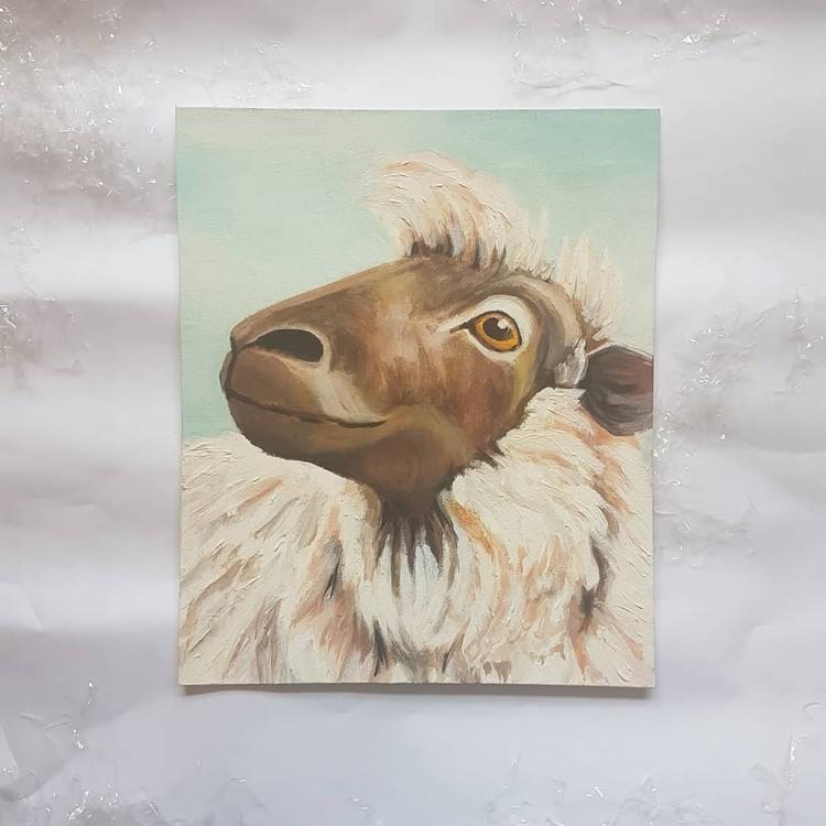 sheep in acrylics on medium canvas board 2019 (angle 3)