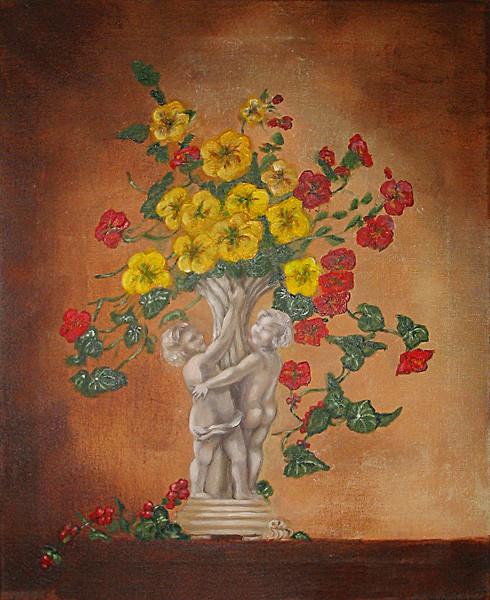 Cherubs Vase with Flowers