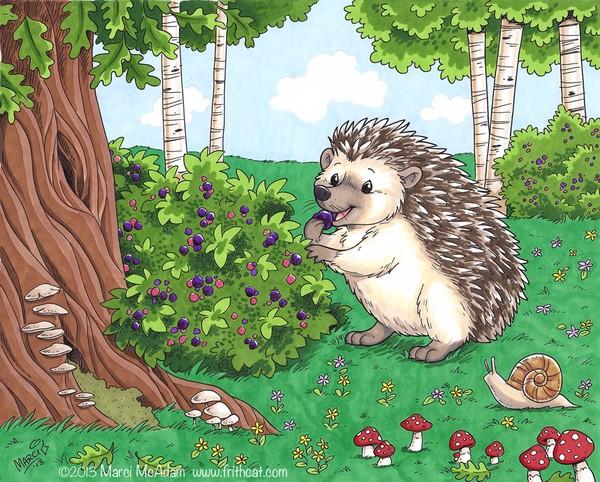 Hedgehog picking berries