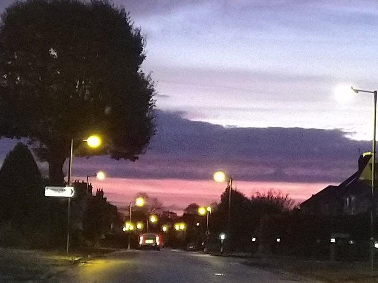 Sunrise on the way to university,7am