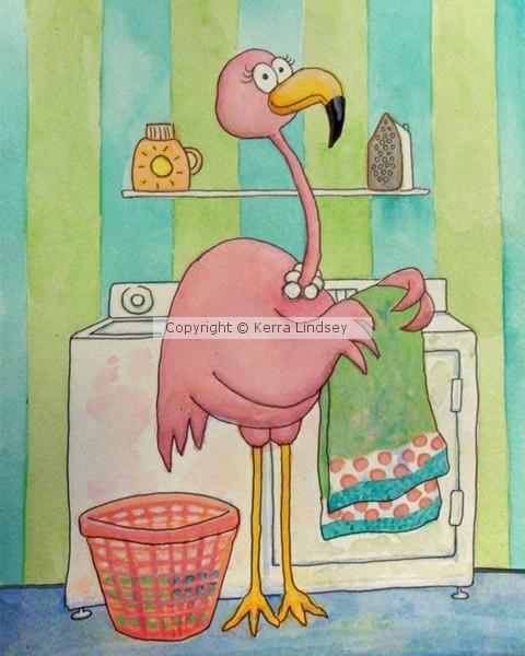Pink Flamingo Whimsical Laundry