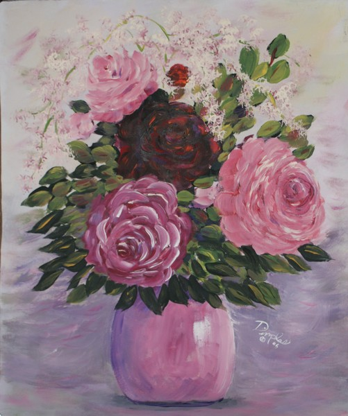 Roses in a Pink Vase
