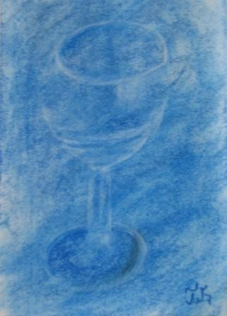 Wineglass on Blue Background