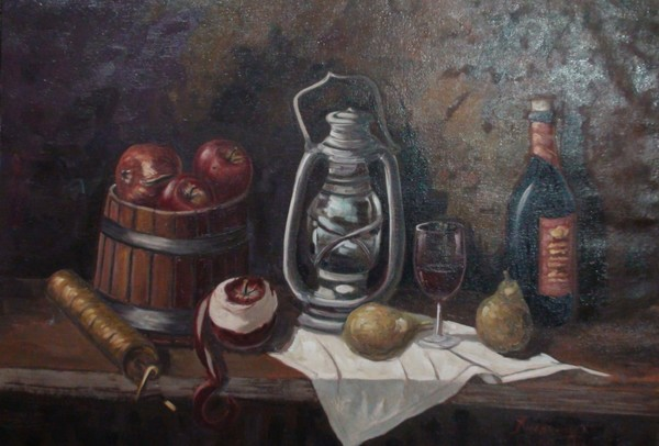 Still life with coffee grinder and lantern