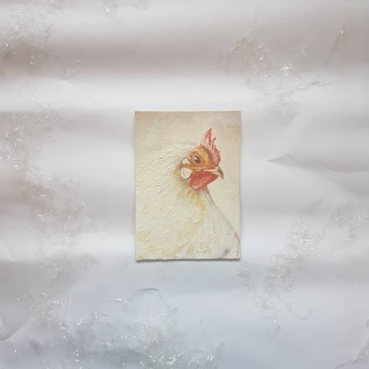 white chicken in acrylics on small canvas 2019 (angle 2)