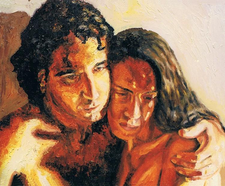 man woman  portrait painting male portraits paintings realism  artist painter raphael perez