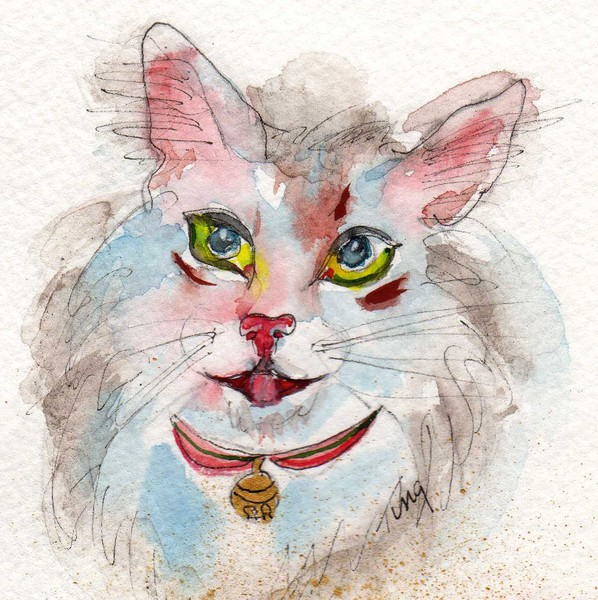 teeni's watercolor cat