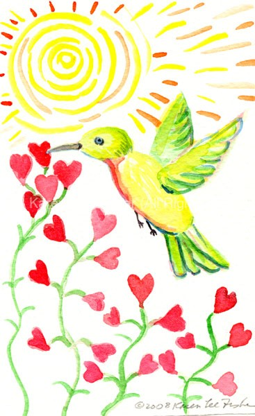 Hummingbird with Hearts