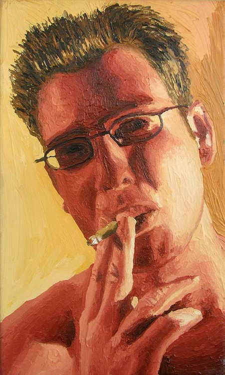 expressive man portrait painting male portraits paintings realism  artist painter raphael perez