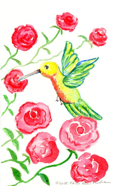 Huumingbird with Roses