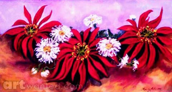 Daisies and Poinsettias