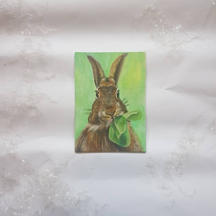 brown rabbit in acrylics on small canvas 2019 (angle 3)