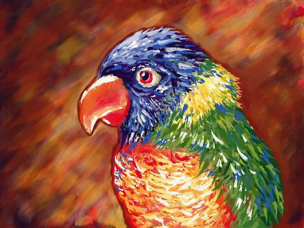 Parrot - Digital painting print, 8x10