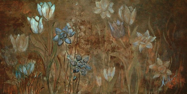 3D floral - blues and browns III