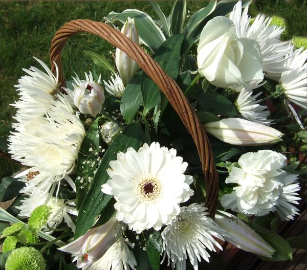 basket of white flowers
