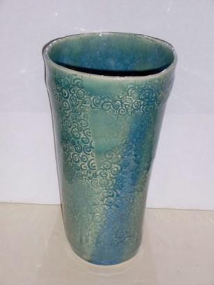 V-Shaped Celadon Ceramic Vase
