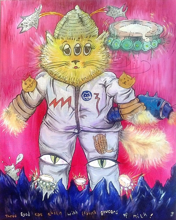 Three Eyed Alien Cat with Flying Saucer of milk 20