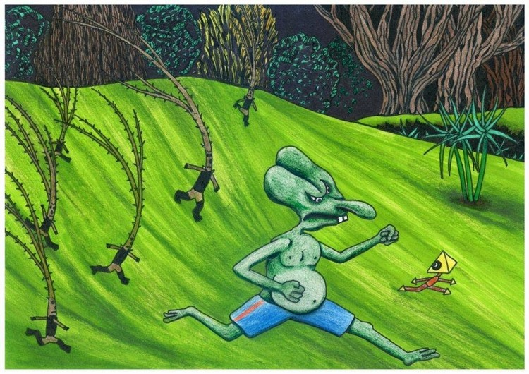 Thorns want to pummel nasal herbivore, naive art illustration, fantasy story, for sale