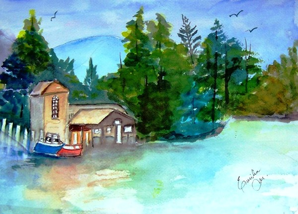 watercolor boathouse