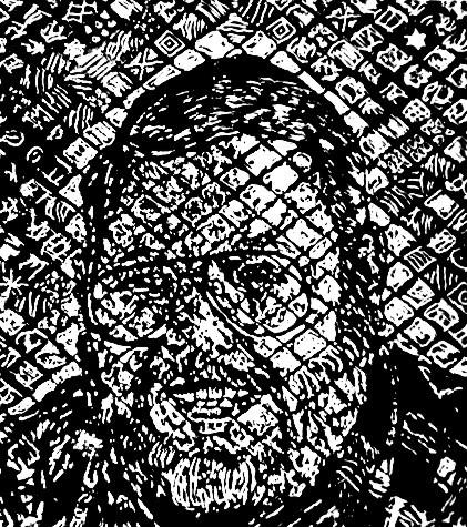 self portrait woodcut