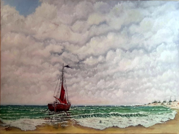 Sailboat on Beach SOLD