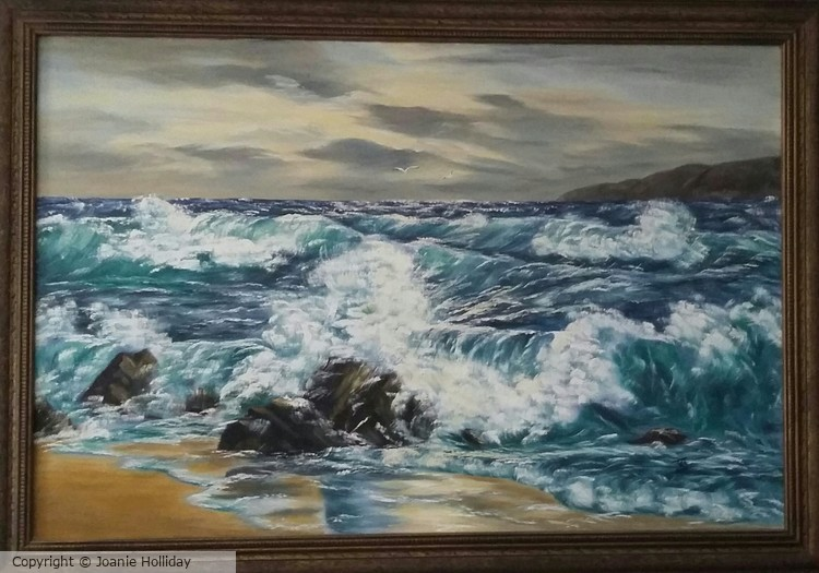 VERY FIRST SEASCAPE OIL PAINTING. 36X25