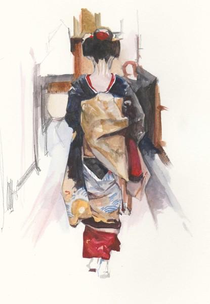 The girl in kimono