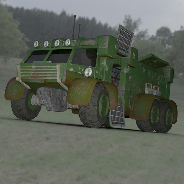 Sci-Fi Truck in a Field