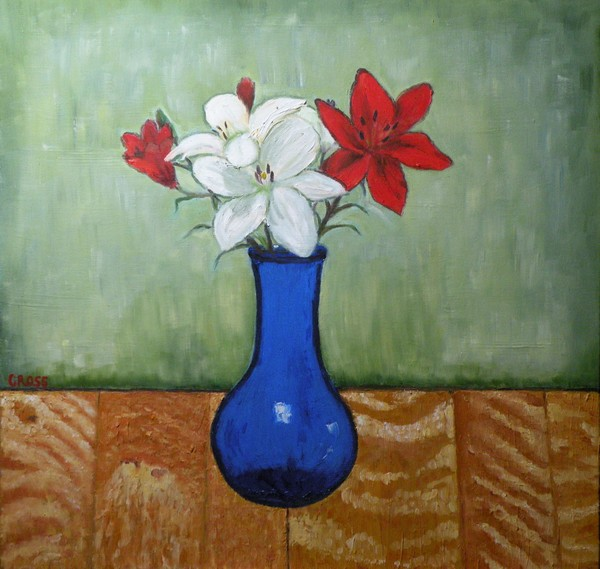 Lilies in Blue Vase