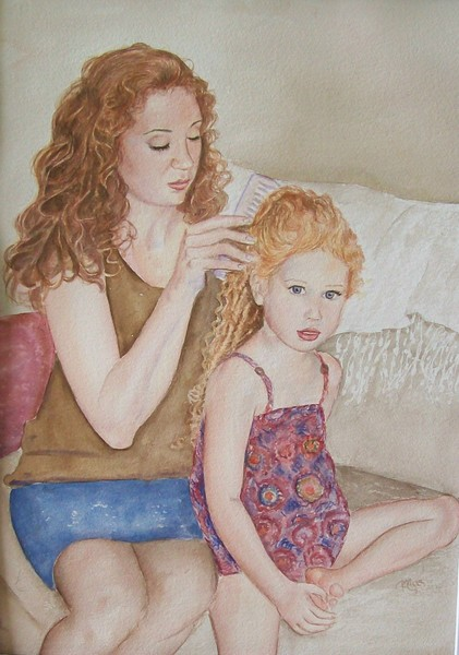 Krista combing daughter's hair
