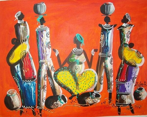 African Market Single Full Color - Listen Children! - 100x80 - Price US650