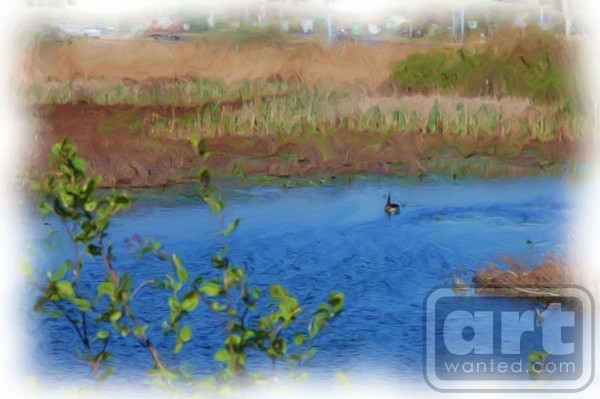 Duck On The Pond Painting