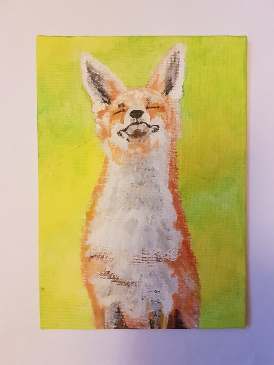 Red fox in acrylics on small canvas board 2019 (unfinished)