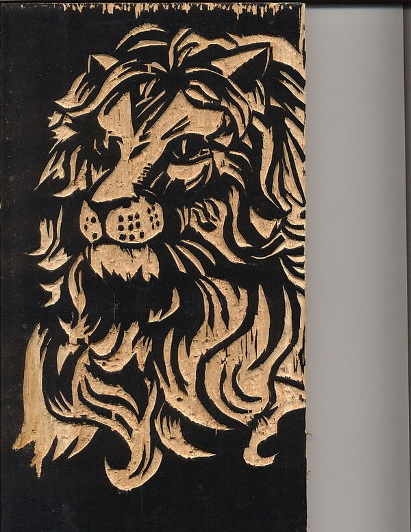 Lion Woodcut plate