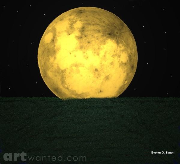 Yellow moon in the dark
