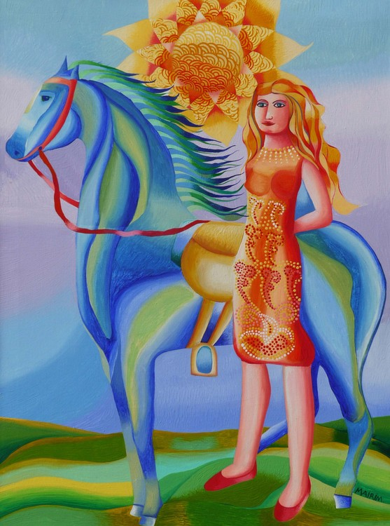 Accompanied with her horse and the sun