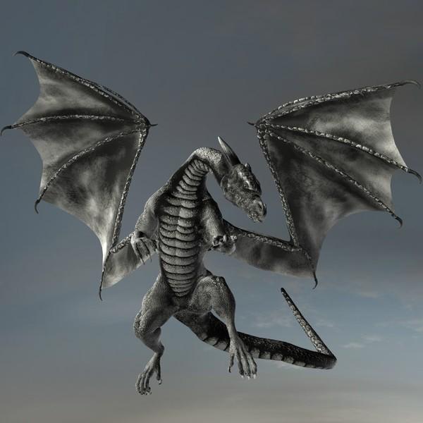Silver Dragon in Flight