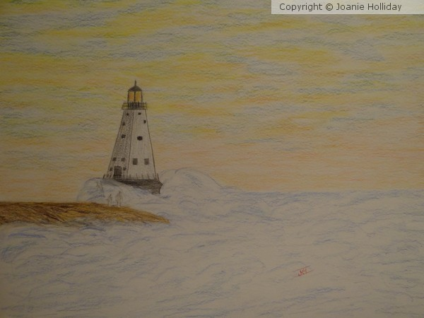 NORTH BREAKWATER LIGHTHOUSE, COLORED PENCIL