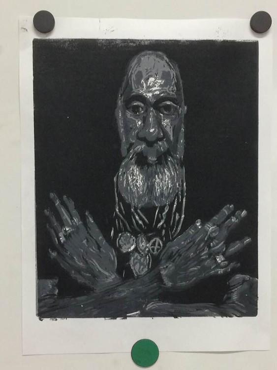 Fan Portrait/Reduction Linocut/2018