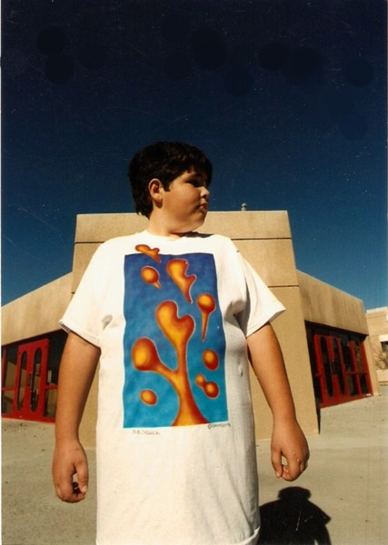 My son Dylan wearing one of my Airbrush Designs