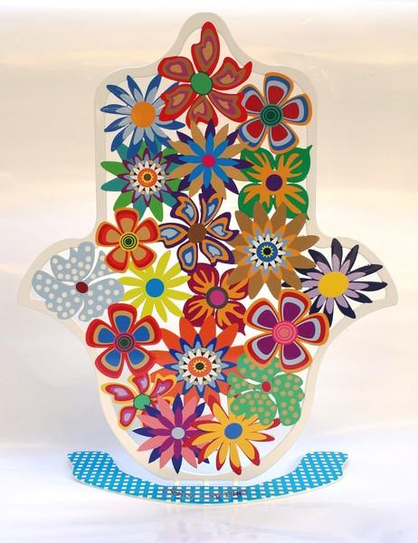 Pink Flowers Hamsa - Best Wishes by Galia Armeland