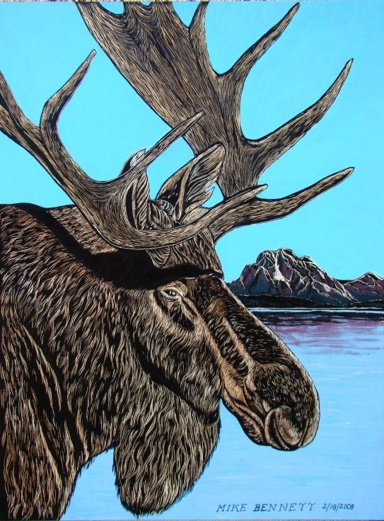 Moose Scratchboard