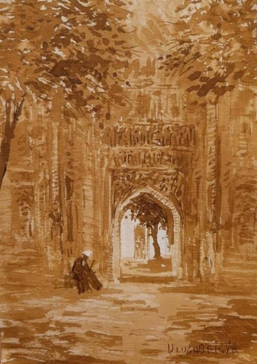Pilgrim at the mausoleum Guri-emir