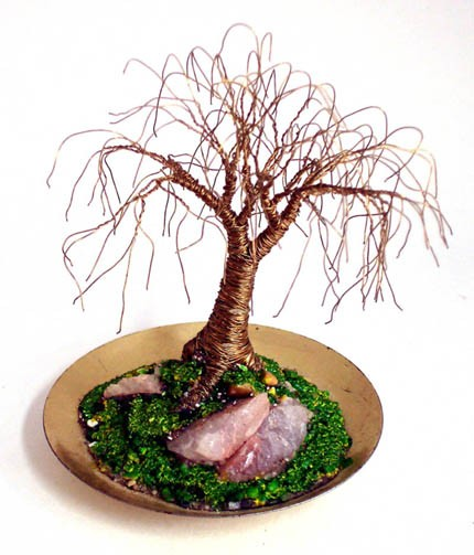 TINY BRASS OAK - Mini Wire Tree Sculpture