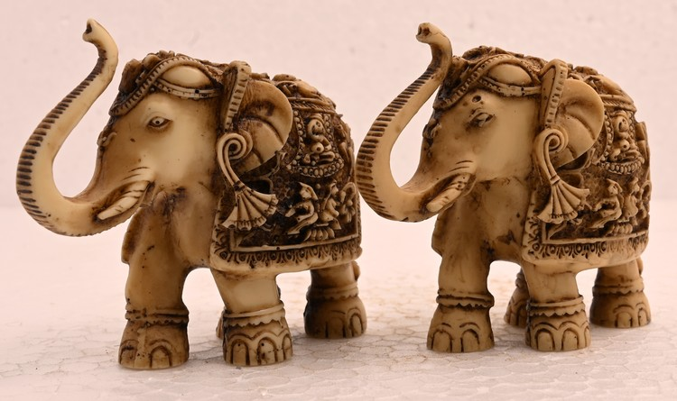 Antique Handmade Sculpture Pair Elephant